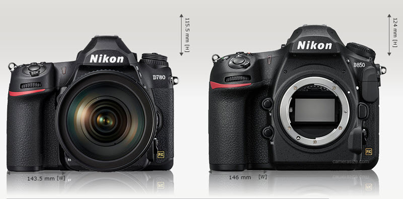 Comparaison Nikon D780 vs D850 face