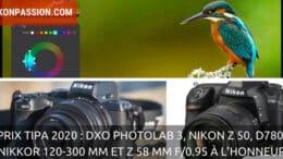 Prix TIPA 2020 : DxO PhotoLab 3, les Nikon Z 50, D780, NIKKOR 120-300 mm et Z 58 mm f/0.95 à l'honneur