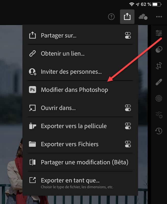 de Lightroom à Photoshop (iPad)