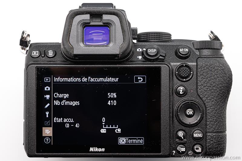 test Nikon Z 5 : indication de l'autonomie à mi-charge