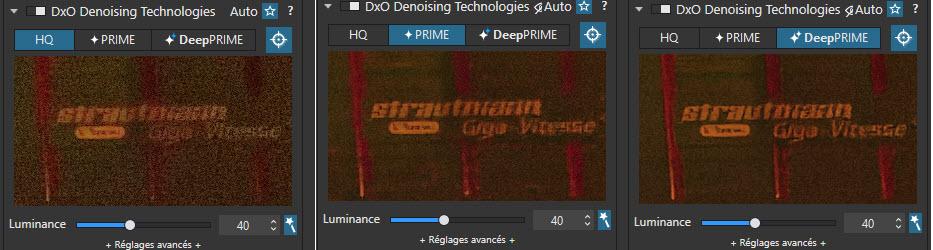 comparaison des fonctions de réduction du bruit numéiruqe avec et sans DeepPRIME