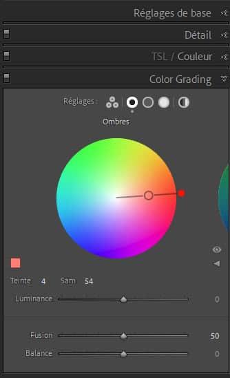 Lightroom Classic, outil Color Grading