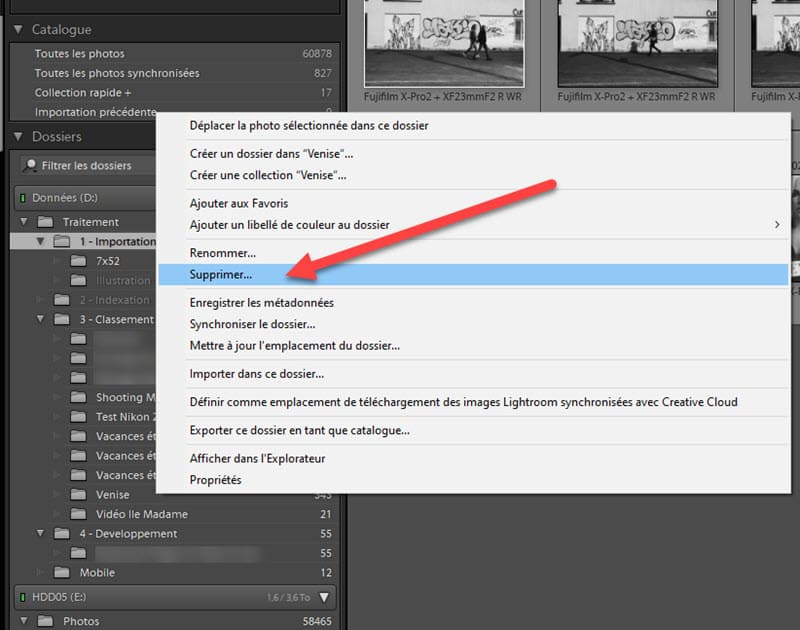 Suppression d'un dossier dans Lightroom Classic