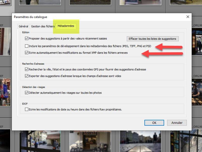 Sauvegarde des données Lightroom dans un fichier XMP sidecar