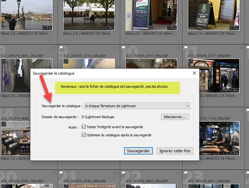 Comment sauvegarder le catalogue Lightroom Classic