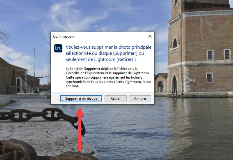 Supprimer une photo de Lightroom Classic ne supprime pas l'original