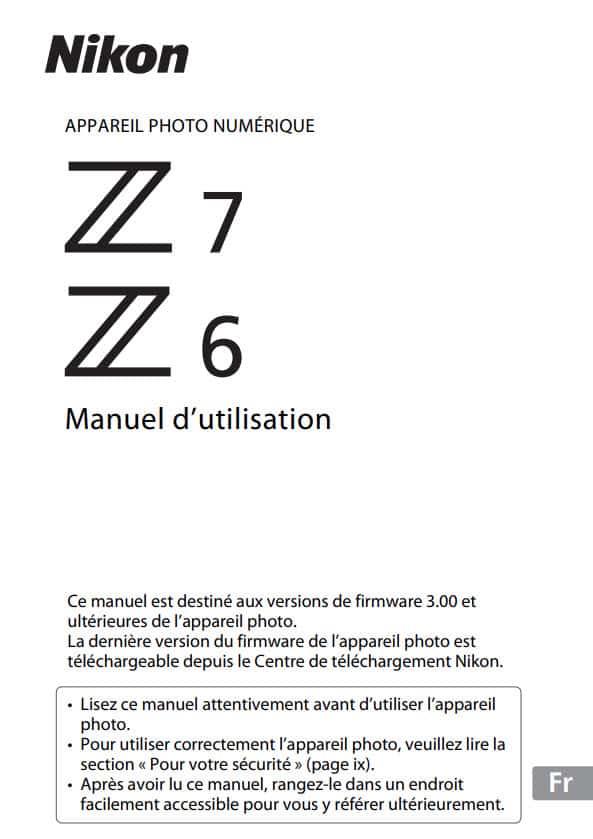 Manuel utilisateur Nikon Z 6 Z 7 en français