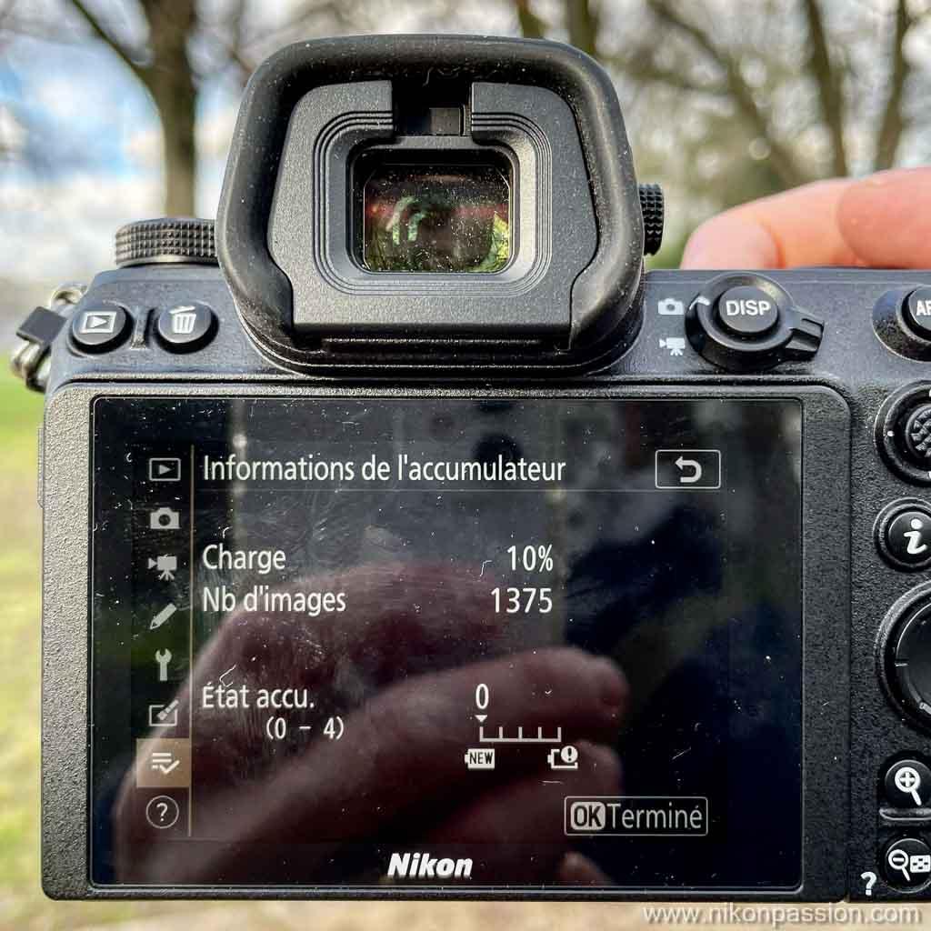 Nikon Z 6II autonomie batterie