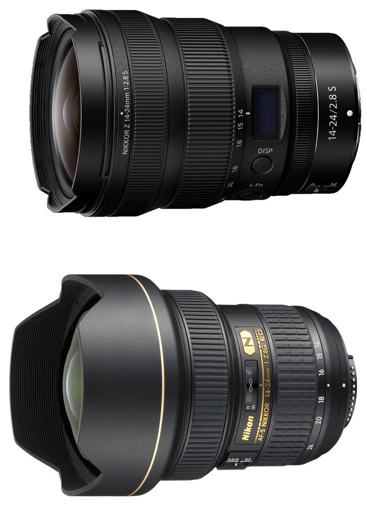 comparaison NIKKOR Z 14-24 mm f/2.8 S vs. AF-S NIKKOR 14-24 mm f/2.8G ED