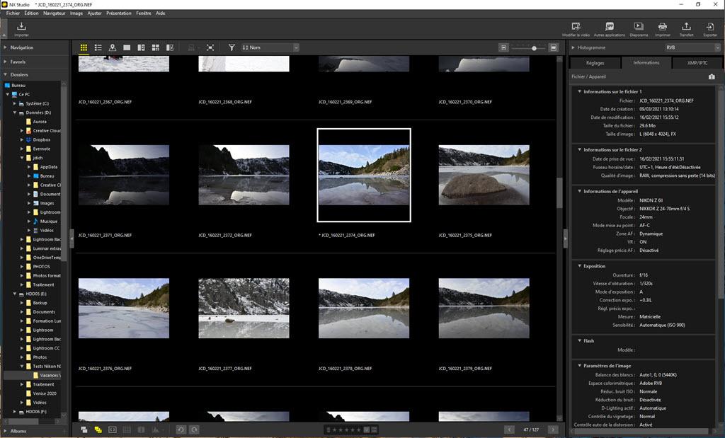 Nikon NX Studio vue vignettes