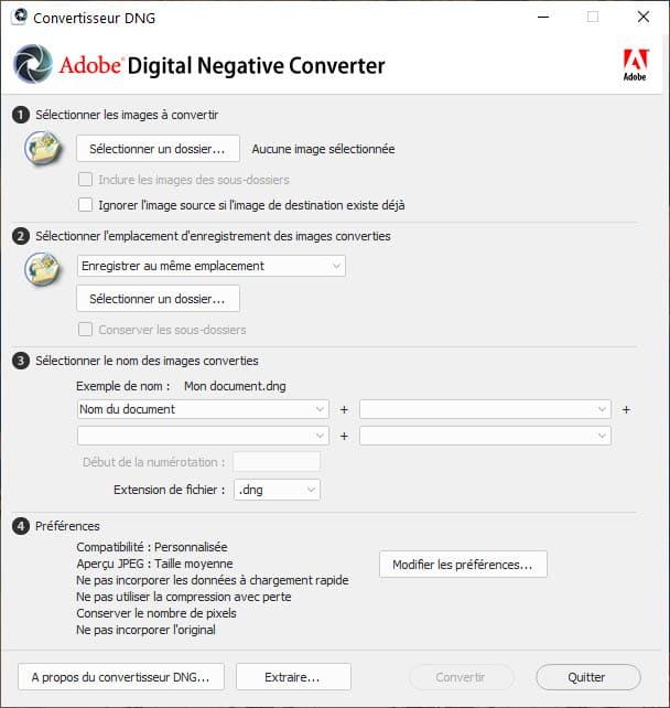 Installation d'Adobe DNG Converter