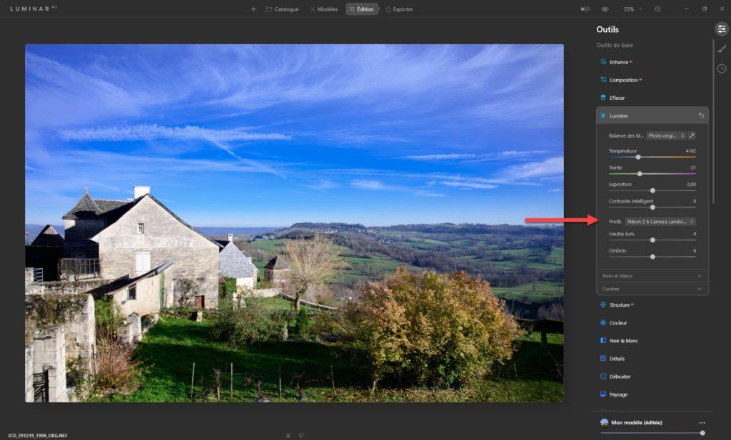Picture Control Nikon avec Luminar