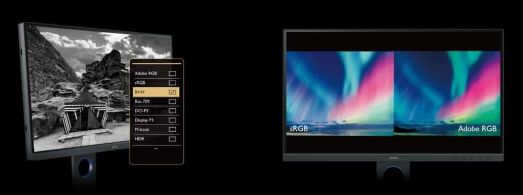 Le BenQ SW271C permet de passer en affichage N&B ou de scinder l'écran en deux
