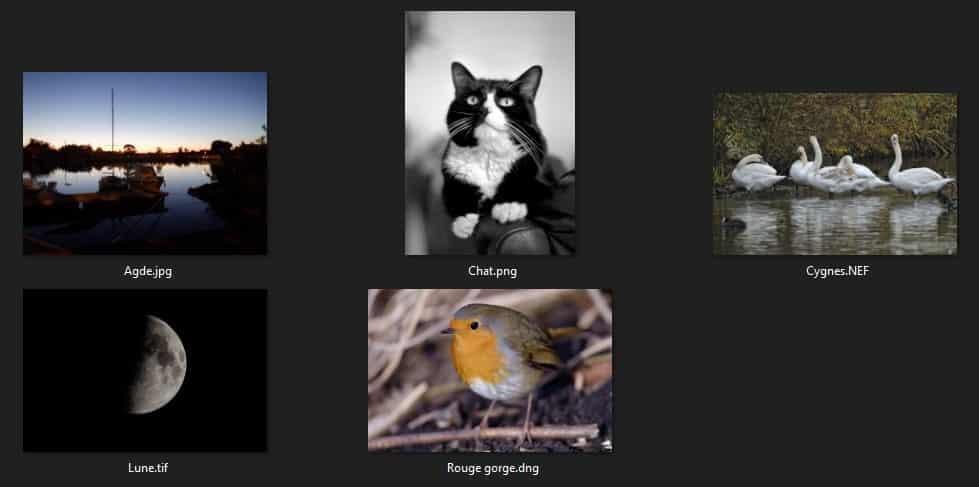 Comparatif formats d'images